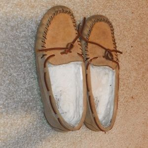 fuzzy brown moccasins